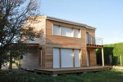 vivanbois-maison ossature bois-bardage mélèze-menuiserie aluminium laqué blance-couverture tuile - meschers sur gironde