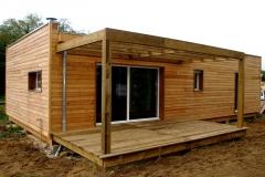vivanbois-maison ossature bois -bardage mélèze -menuiserie aluminium-terrasse classe 4- la tremblade