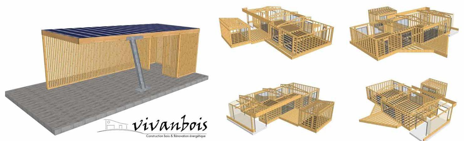 plan 3D structure carport maison bois
