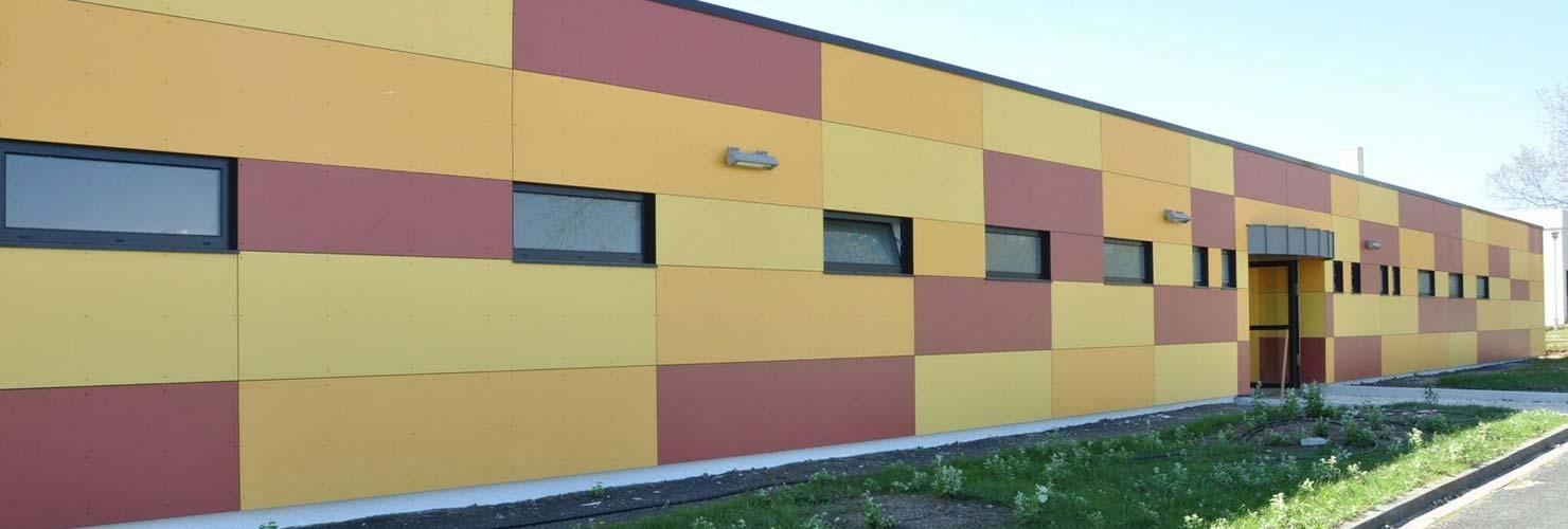 construction gymnase de cozes vivanbois bardage panneaux fundermax