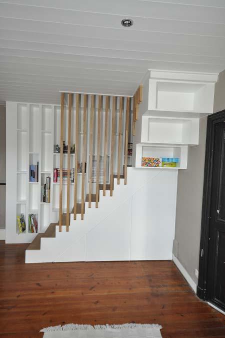 vivanbois agencement escalier chêne et meuble bibliothèque intégré 17