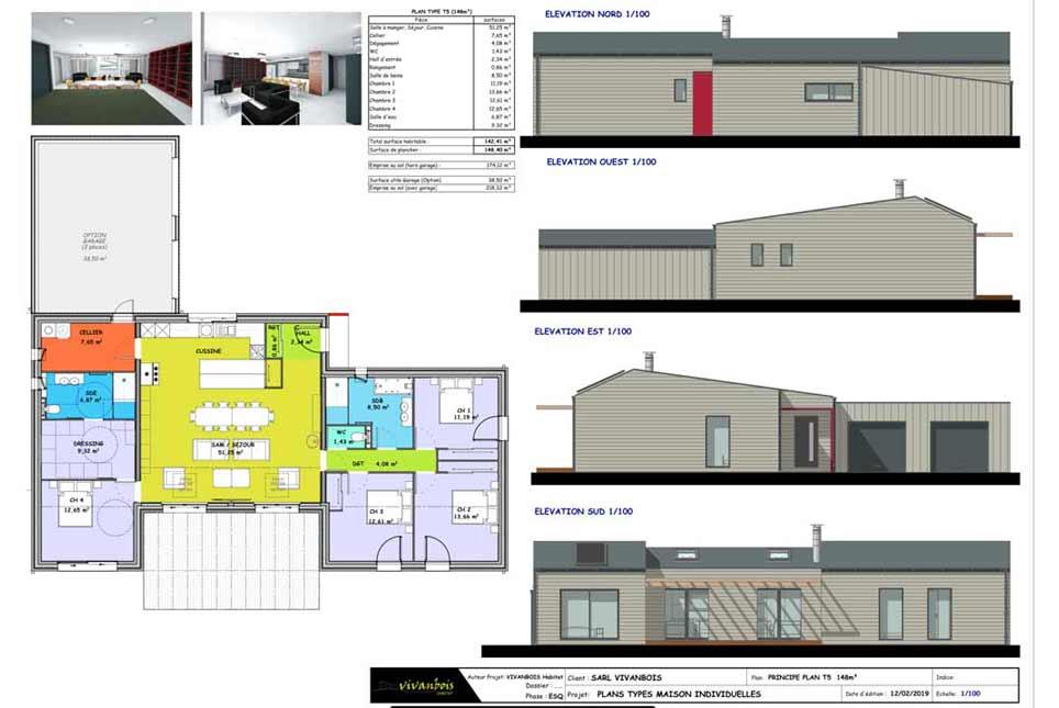 plan maison ossature bois T5 148m2